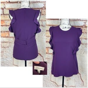 HP• CARVEN LN Purple Ruffled Sleeveless Belted Top